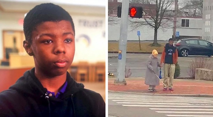 Following his sister's suggestion, this teenage boy helped an elderly woman cross the street