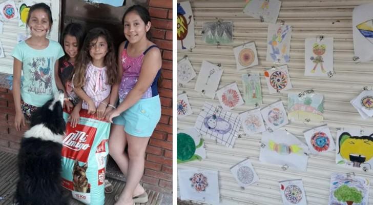 5 petites filles décident de vendre leurs dessins pour acheter de la nourriture pour les chiens errants de leur quartier