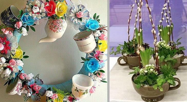 15 trovate strepitose per riciclare un vecchio servizio da tè e creare incantevoli decorazioni di Pasqua