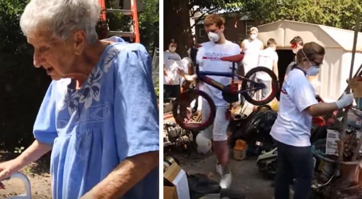 Ze is 90 jaar oud en haar binnenplaats wordt overspoeld met afval: ze riskeert een boete van $2500 per dag, maar vrijwilligers helpen haar