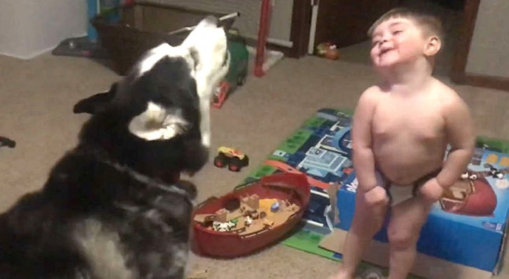 A two-year old has a chat with his dog that ends up entertaining his entire family