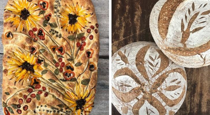 L'arte di fare il pane: questa fornaia crea pizze e focacce abilmente decorate con disegni floreali