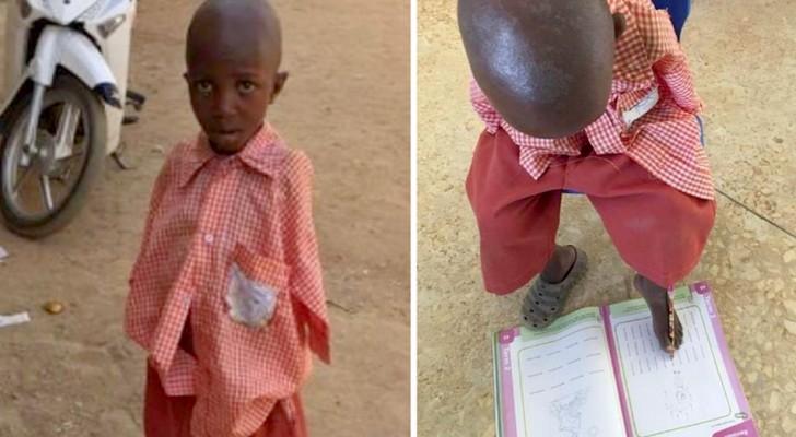Ohne Arme geboren, lernt und malt dieser arme 4-jährige Junge mit seinen Zehen