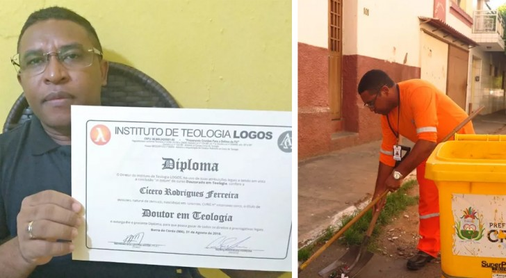 He collected many books during his street sweeper career: now he has a degree in theology and speaks 3 languages