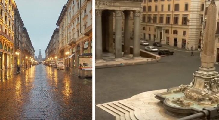 Coronavirus: con lo stop delle attività, le città deserte di Roma e Milano tornano a