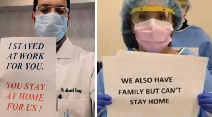 I medici di tutto il mondo stanno implorando le persone di restare a casa e di essere responsabili