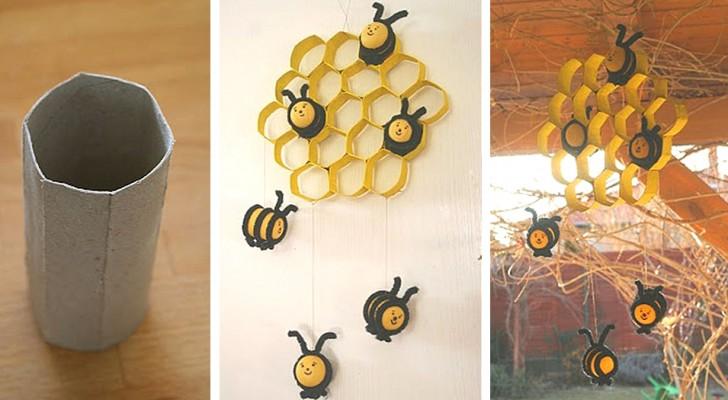 Il metodo facilissimo per realizzare una decorazione a forma di alveare con semplici rotoli di carta igienica