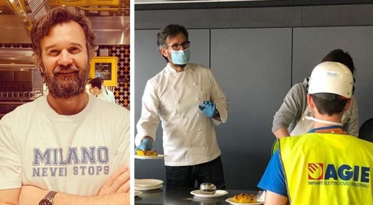 Lo chef stellato Cracco cucina un pasto caldo per chi lavora alla costruzione dell'ospedale di Portello a Milano