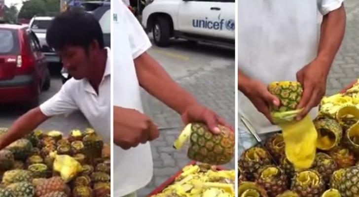 Quanto tempo você leva para descascar um abacaxi?