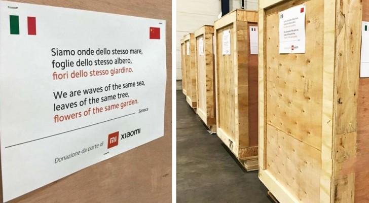 China stuurt duizenden maskers naar Italië en laat een gedicht achter op de containers om de Italianen hun nabijheid te tonen