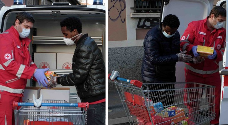 Ci avete salvato dal mare, ora vi aiutiamo noi: la comunità etiope di Milano dona cibo alla Croce Rossa