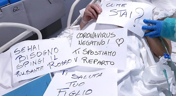 Coronavirus: gli infermieri comunicano con i pazienti non udenti scrivendo dolcissimi messaggi su dei cartelli