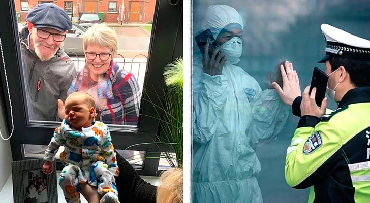 10 heartwarming images of people visiting their loved ones in quarantine outside their windowsills