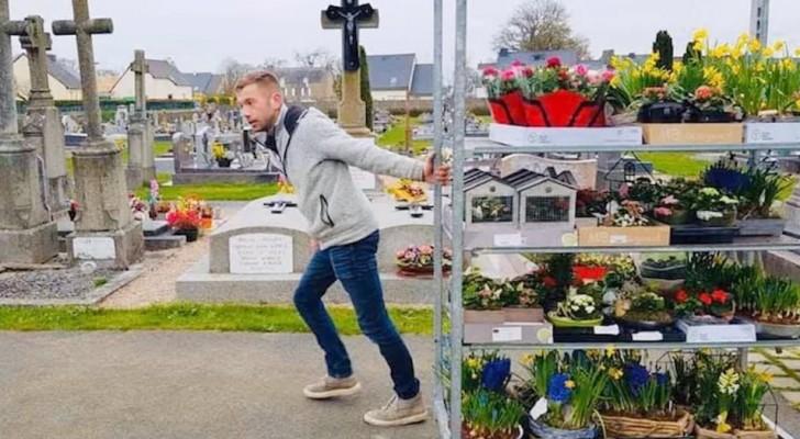 O Coronavírus fecha todo o comércio, então este florista coloca as flores que não vendeu nos túmulos do cemitério da cidade