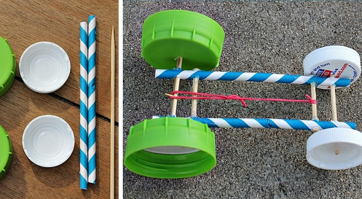 Il metodo semplice e divertente per creare un'automobilina con cannucce, tappi e un elastico