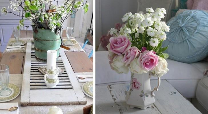 10 proposte irresistibili per creare dei centrotavola fioriti con un tocco shabby-chic