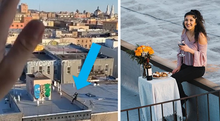 Een jongen in quarantaine ziet een jong meisje dansen op het dak en stuurt haar zijn nummer met een drone