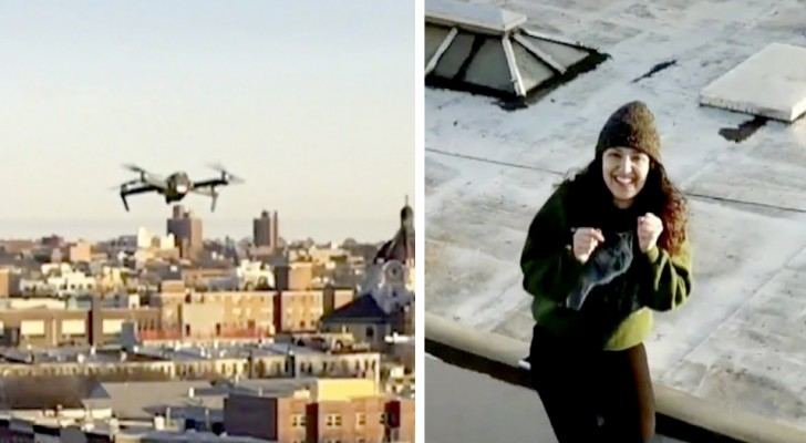 He sees a girl on the roof opposite and sends his number to her with a drone: a flirtation is born at a distance