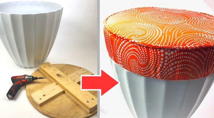 Il metodo fai-da-te per trasformare un semplice vaso in un comodo sgabello da giardino