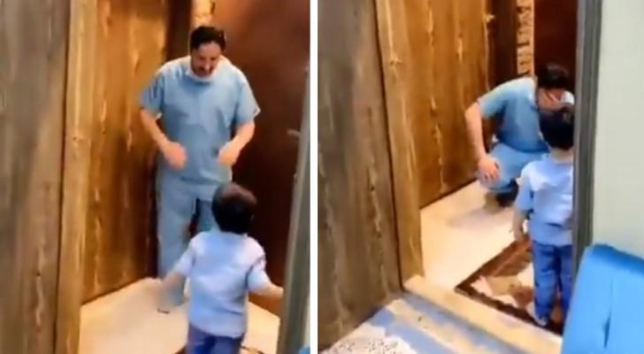 Un medico rifiuta l'abbraccio del figlio per paura del Coronavirus, poi scoppia in lacrime: il doppio dramma dei medici