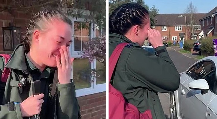 A nurse bursts into tears when her neighbors step outside their houses and applaud to thank her for the work she's doing during the Coronavirus outbreak.