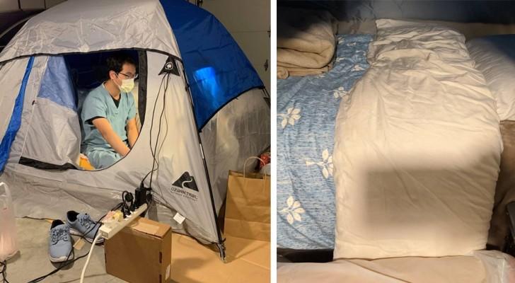 Ce médecin dort dans une tente de camping dans son garage pour protéger sa famille du Covid-19