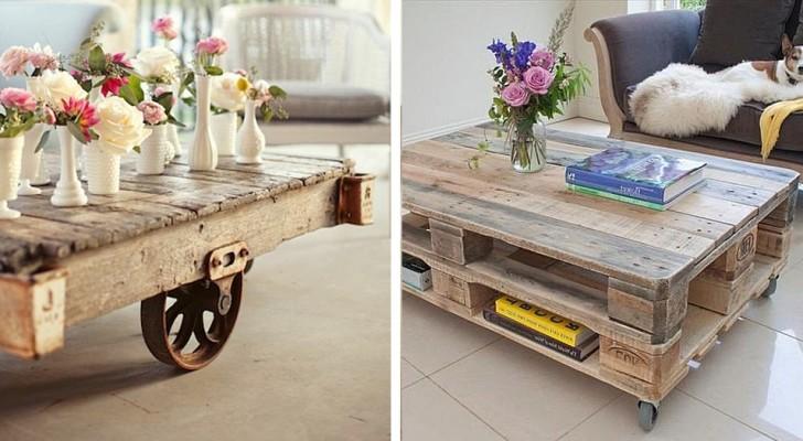 15 idee originali da cui trarre spunto per realizzare tavolini da salotto con i pallet