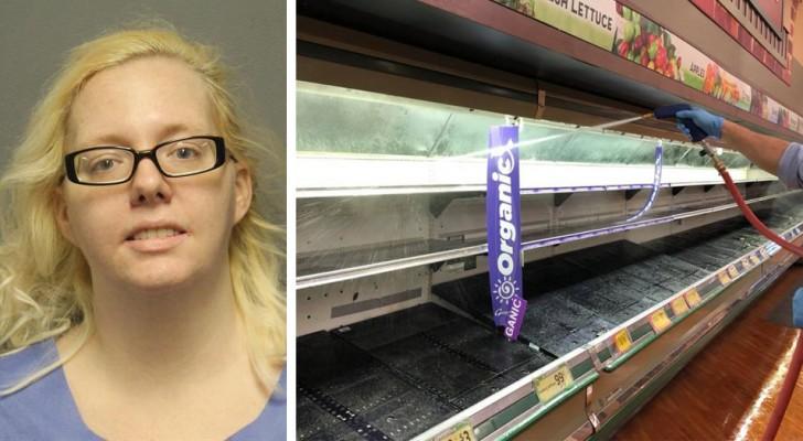 Frau sagt, sie habe Coronavirus, und hustet auf das Gemüse im Supermarkt. Polizei verhaftet sie.