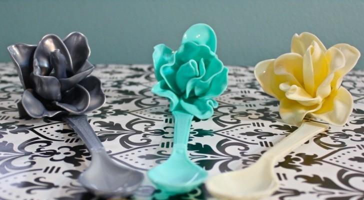 La tecnica fai-da-te per trasformare i cucchiai di plastica in originali accessori a forma di rosa