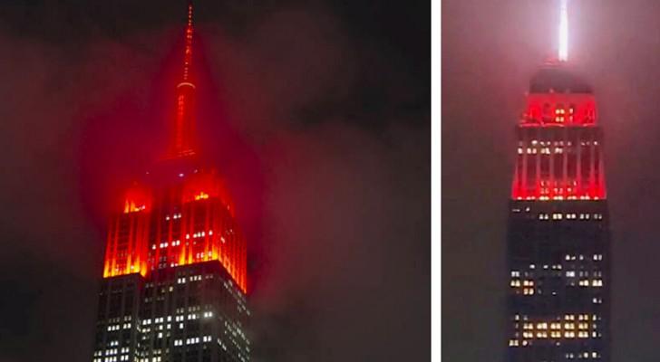 """Coronavirus: Het Empire State Building kleurt rood vanwege de noodsituatie, maar het resultaat """"terroriseert"""" de mensen"""