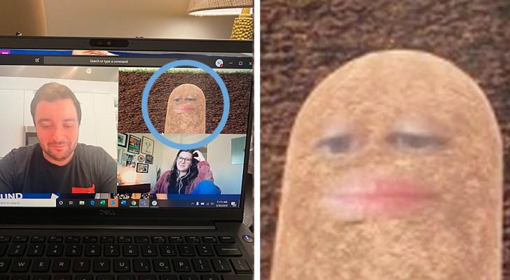 Durante una videoconferenza, il capo attiva per sbaglio il filtro patata e non riesce a toglierlo per tutta la riunione