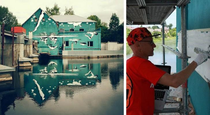 Dipinge un gigantesco murales al contrario: quando si riflette sull'acqua del fiume mostra la sua bellezza