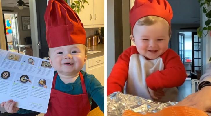 Este menino de apenas 1 ano já é um pequeno chef e se diverte dando aulas de cozinha online