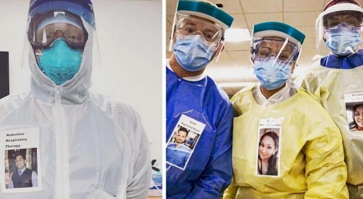 Questi infermieri indossano dei badge con foto sorridenti per permettere ai pazienti di vedere oltre le mascherine