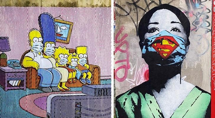 """Street art dat het Coronavirus """"interpreteert"""": 9 werken die de periode symboliseren die we doormaken"""