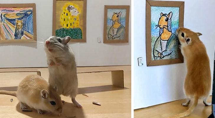 Een in quarantaine geplaatst echtpaar bouwt een miniatuurmuseum voor hun knaagdieren, compleet met meesterwerken van de kunst