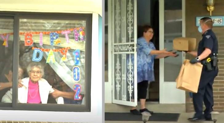 Cumple 102 años en aislamiento: para festejar un policía le compra una torta y se la lleva a su casa