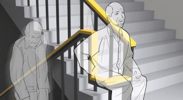 Un'azienda ha progettato un corrimano che permette a anziani e disabili di riposarsi salendo le scale