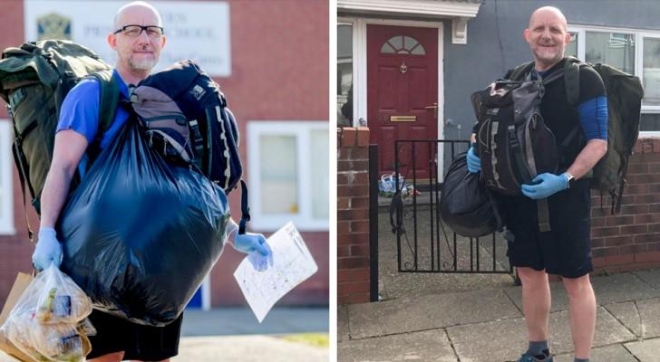 Con las escuelas cerradas por el Covid-19, este profesor entrega todos los días comida a las familias más necesitadas