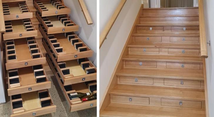 Ein Mann verwandelt die Treppe des Hauses in einen
