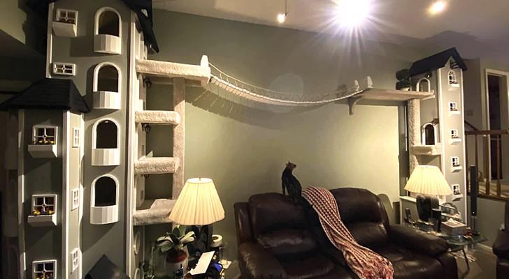 Un homme construit pour ses chats deux tours qui ressemblent à de vraies maisons : le rêve de tout chat domestique