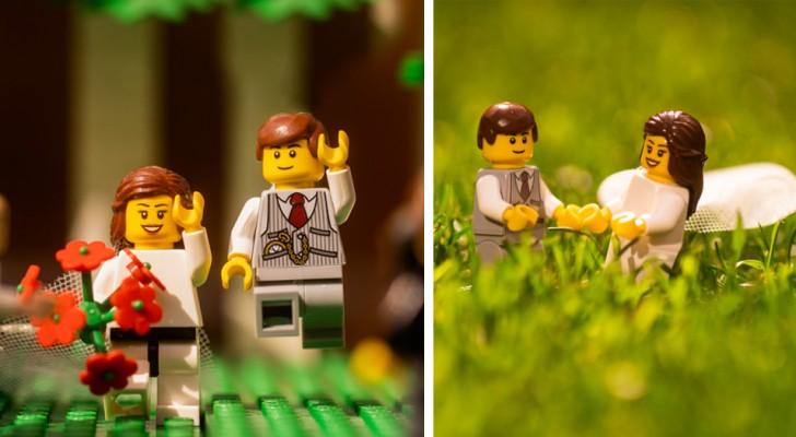 Un fotografo di matrimoni in isolamento ricrea un'esilarante cerimonia con i LEGO con servizio fotografico completo