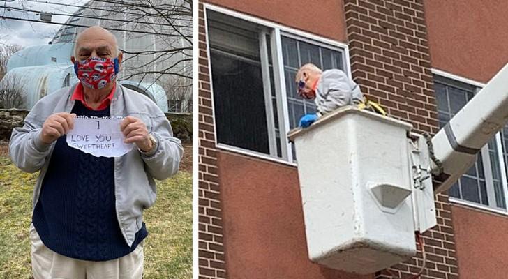 Un hombre de 88 años alquila una grúa para llevarle un mensaje de amor a la ventana de su mujer en aislamiento