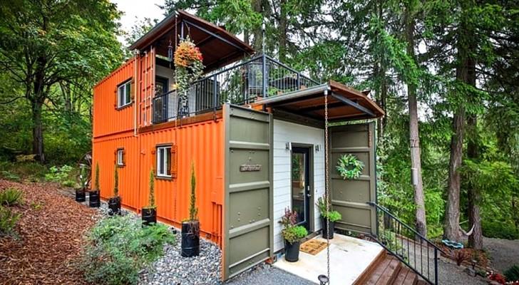 Ein Ehepaar hat zwei Container in ein originelles Mini-Haus verwandelt: Es ist klein, aber mit allen Annehmlichkeiten ausgestattet