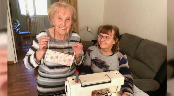 Cada día esta abuelita de 100 años cose cientos de máscaras para regalar a quien tiene necesidad