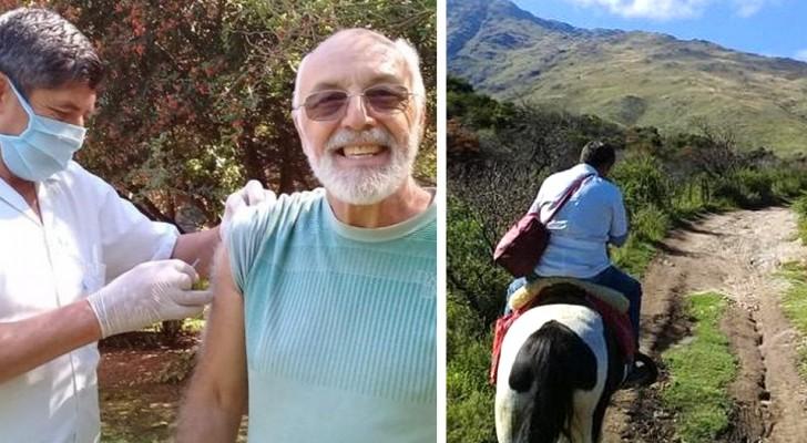 Un infermiere di 61 anni percorre chilometri a cavallo per vaccinare e curare gli anziani