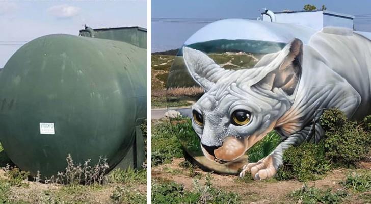 Un artista di strada ha trasformato un vecchio serbatoio del gas in un gigantesco gatto Sphynx in 3D