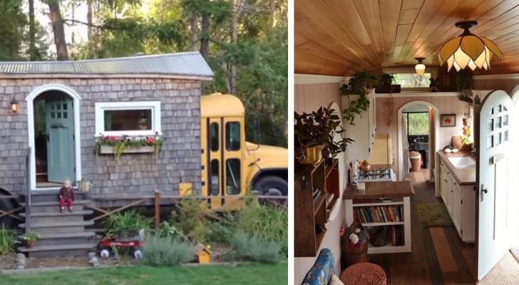 Una famiglia acquista uno scuolabus e lo trasforma in un bellissimo cottage: una mini-casa mobile dal look fiabesco