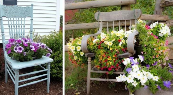 9 propositions hyper ingénieuses pour recycler de vieilles chaises et les utiliser comme jardinières dans le jardin