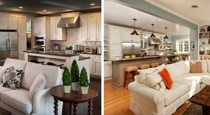 Alcune soluzioni pratiche ed eleganti per un soggiorno con cucina a vista: 11 foto da cui prendere ispirazione